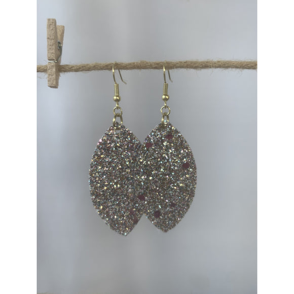 White With Pink Glitter Earrings - abby+anna's boutique