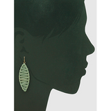 Raffia Wrapped Metal Marquise Shape Drop Earrings (5390331347109)