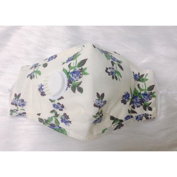 White Floral Unisex Personal Face Mask with Air Valve (5243019067557)