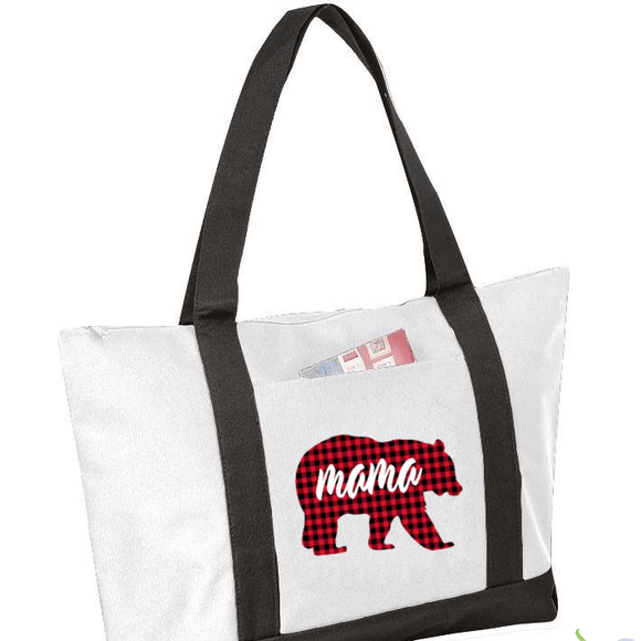 Buffalo Plaid Bear with Mama Graphic Tote (1915447836742)