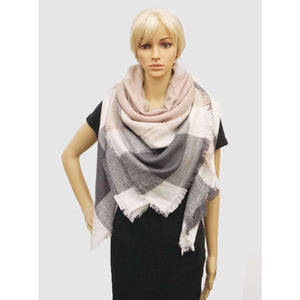 Gray + Pink Blanket Scarf - Final Sale