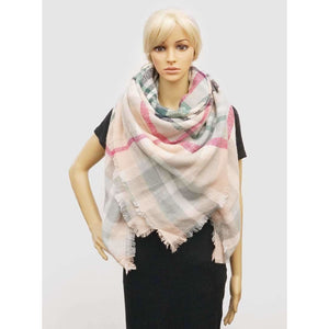 Light Beige Plaid Blanket Scarf - Final Sale