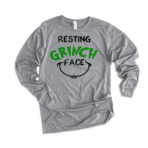 Resting Grinch Face - Long Sleeve Tee - Final Sale (4358609043528)