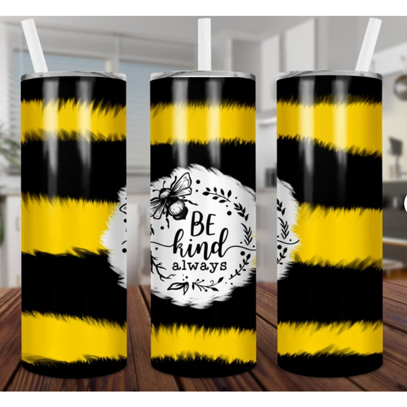 Be Kind Skinny Tumbler with Metal Straw (5768014692517)