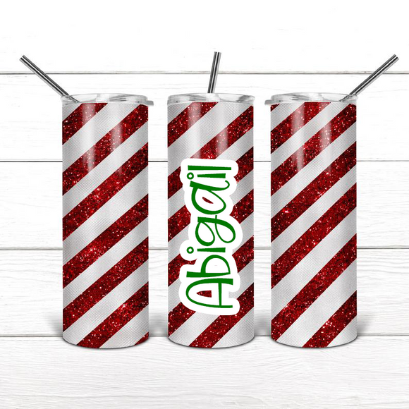 Candy Cane - Skinny Tumbler with Optional Faux Whipped Cream Top (6076640166069)