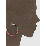 Multi Colored Clay Bead Hoop Earrings (5394429575333)