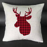 Reindeer Buffalo Plaid Pillowcase Cover - 16x16 (6073911279797)