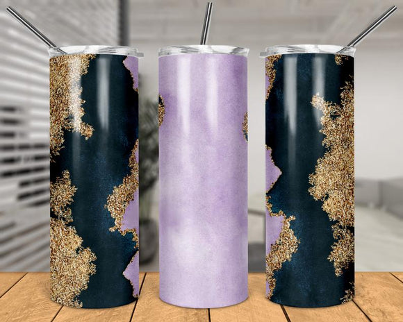 Navy & Lavender Print - Skinny Tumbler with Metal Straw - abby+anna's boutique