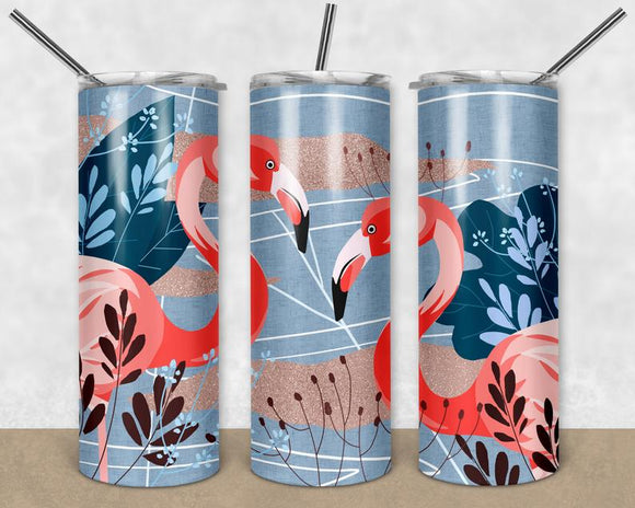 Flamingo - Skinny Tumbler with Metal Straw - abby+anna's boutique