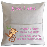 Monkey Pillowcase Cover w/ pocket - abby+anna's boutique