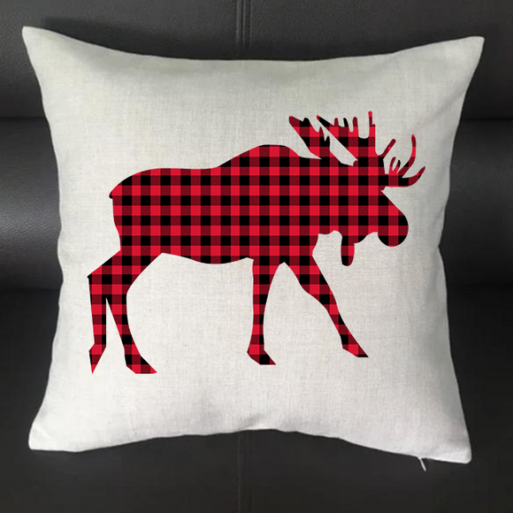 Moose Buffalo Plaid Pillowcase Cover - 16x16 - abby+anna's boutique