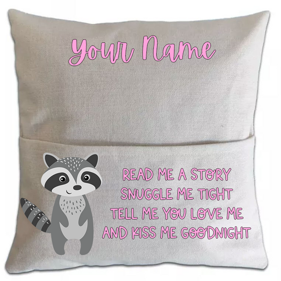 Racoon Pillowcase Cover w/ pocket - abby+anna's boutique
