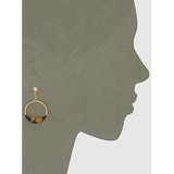 Acetate Tortoise Metal Round Drop Earrings (5390462746789)