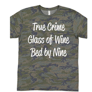 True Crime, Glass of Wine, Bed by Nine - Patterned Tee (4477847175240)