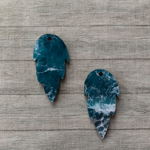 Ocean Waves Feather Earrings (6263923310773)