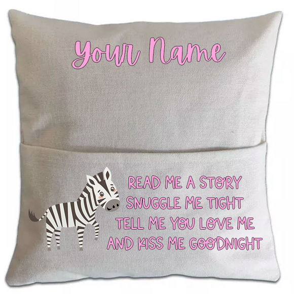 Zebra Pillowcase Cover w/ pocket (5751187800229)