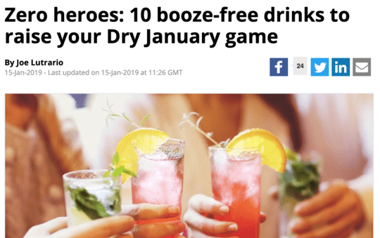 Big Hospitality: 10 Booze Free Drinks to Raise your Dry January Game