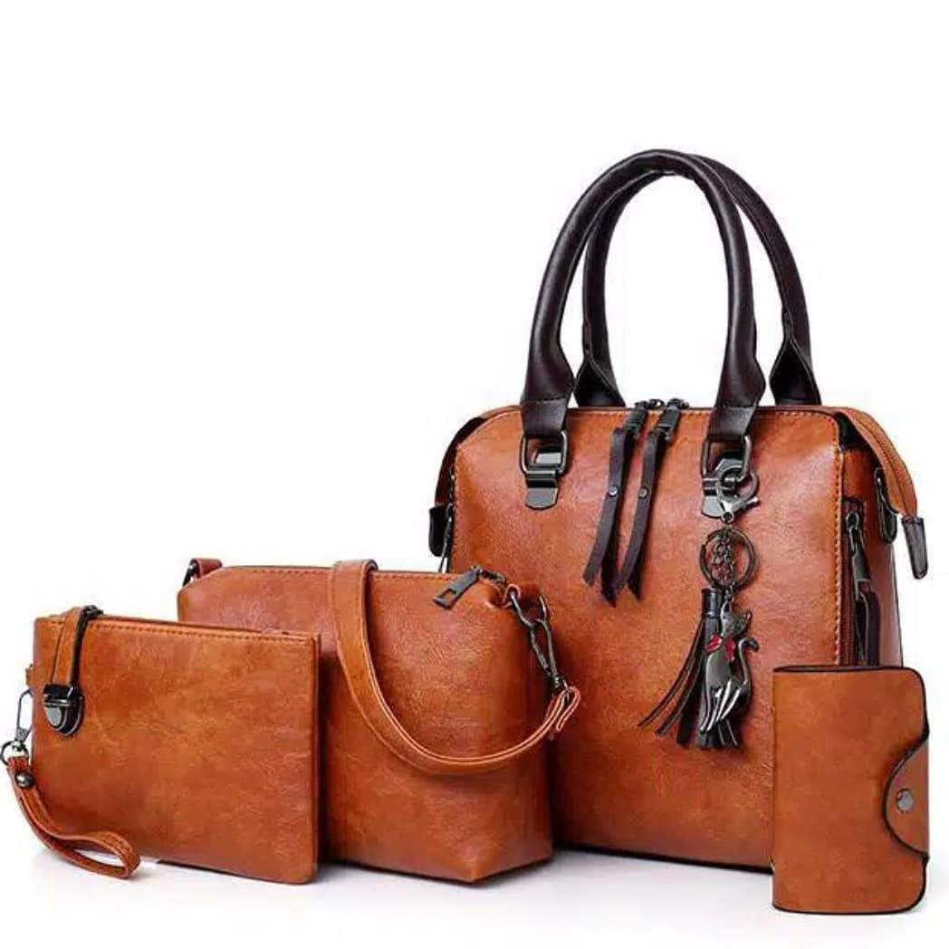 Four Sets of Wax Oil Leather Tassel Handbag