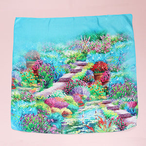 BEAUTIFUL GARDEN PRINT SILK SQUARE - 044