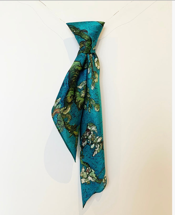 TEAL BLOSSOM FLOWER PRINT SILK SQUARE