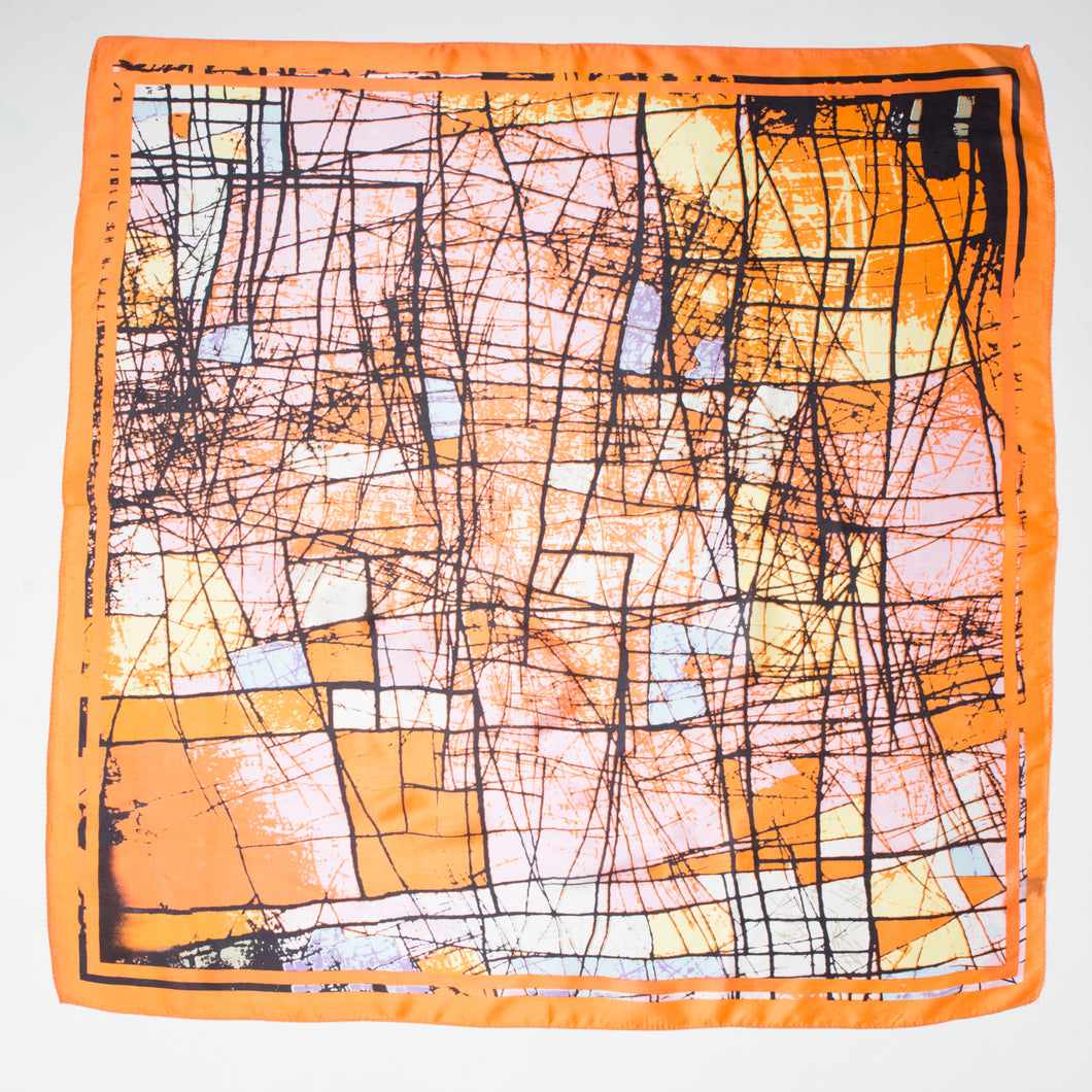 ABSTRACT PRINT LARGE SILK SQUARE - 201