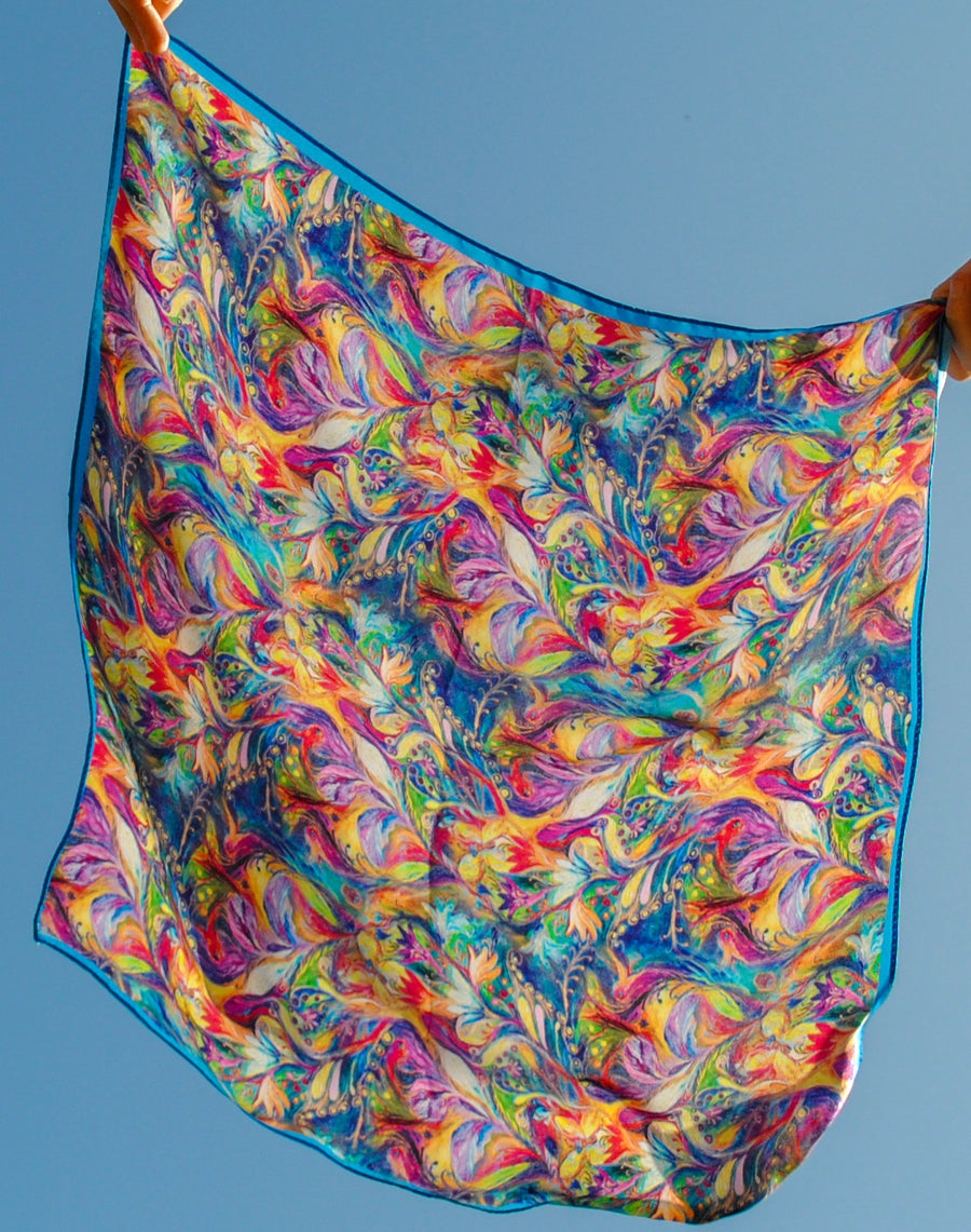 PEACOCK FEATHER PRINT SILK SQUARE