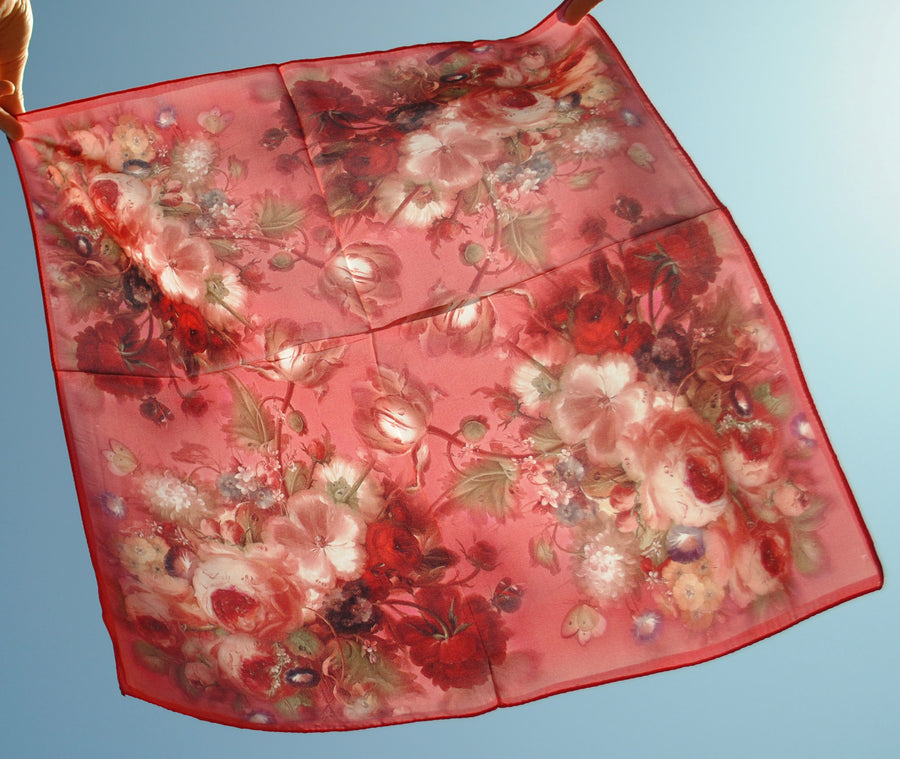 RED ROSE PRINT SILK SQUARE