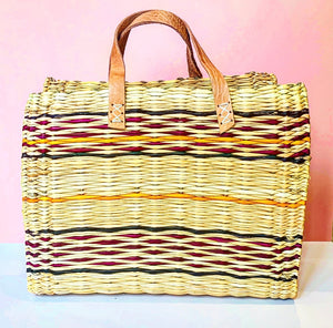 STRIPE WICKER BASKET - MEDIUM