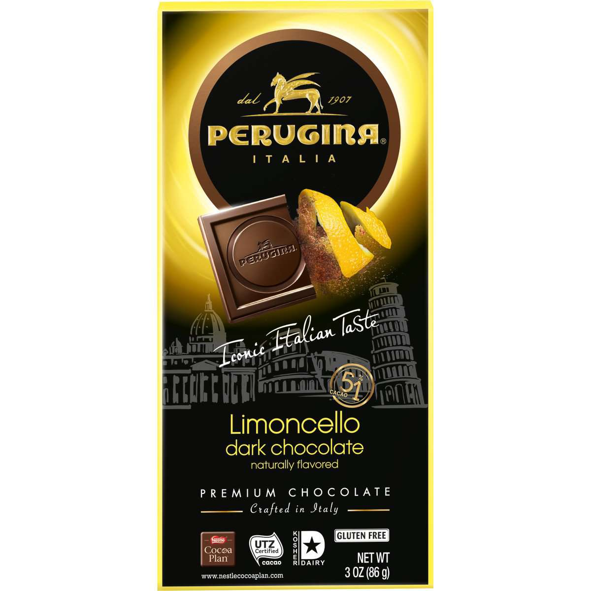 Perugina Dark Chocolate Limoncello Bar, 86 g