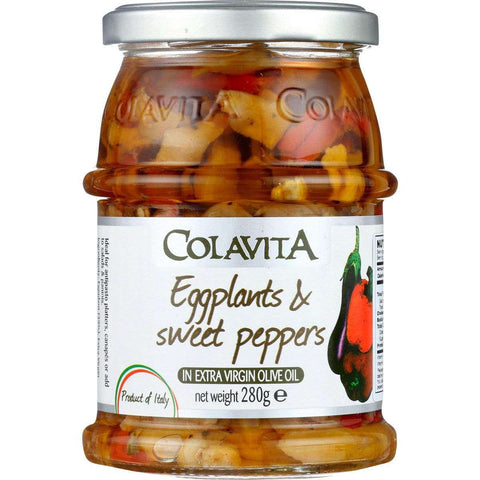 Eggplant & Sweet Peppers - Glass Jar - in Extra Virgin Colavita Olive Oil - 9.87 Ounce