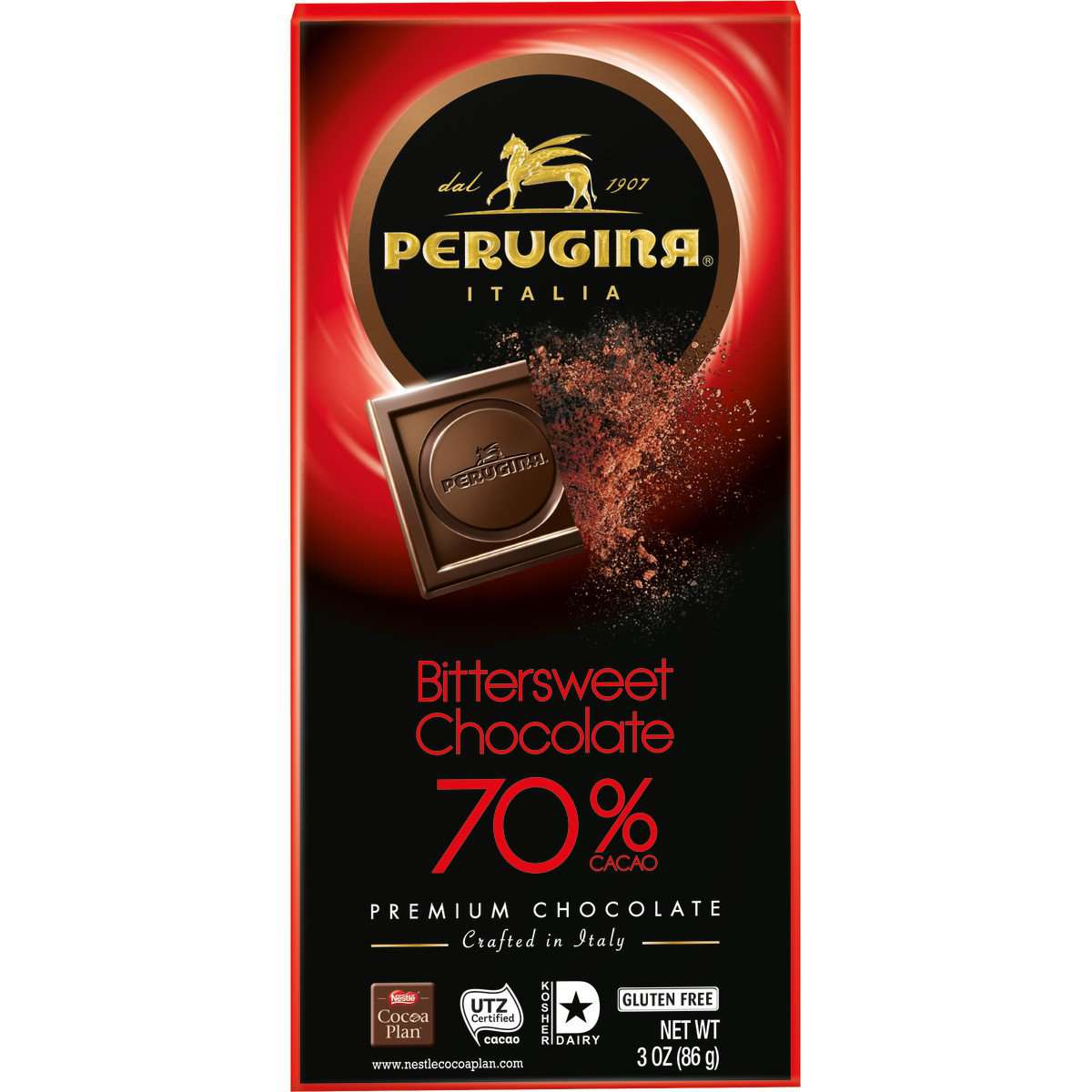 Perugina Bittersweet Chocolate Bar 70%, 86 g