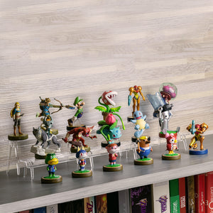 Amiibo Figure 2-Tier Display Stand Holder - Game Room Decor Organizer Mini Shelf for Toys, Collectibles, and Figurines