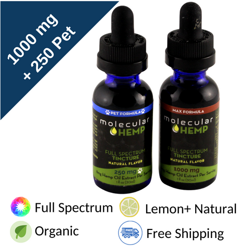 1000+250 mg Me and My Pet Bundle, Full Spectrum CBD and MCT Oil Tinctures-33 mg, & 8 mg per serving