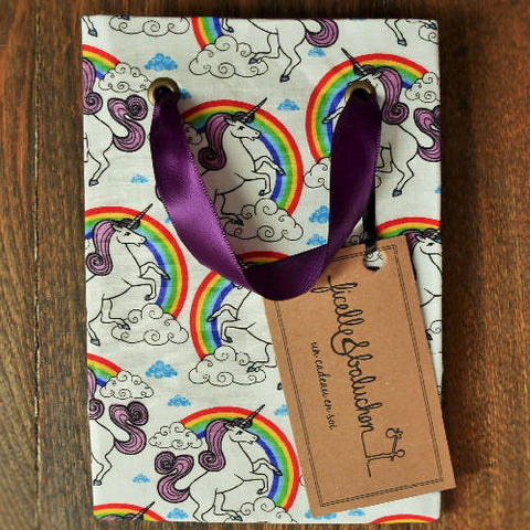 Small reusable gift bag, little unicorns