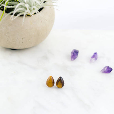 Semi-precious stone earrings, tiger eye, stainless steel, hypoallergenic