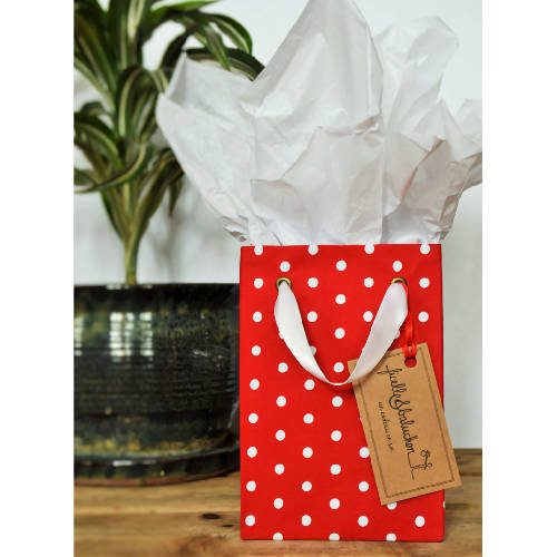 Small reusable gift bag, red with white polka dots