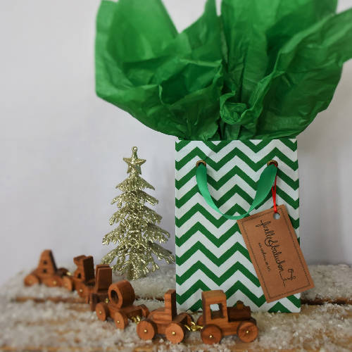 Small reusable gift bag, dual tone green chevrons