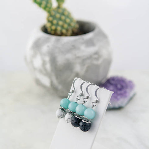 Earrings made of semi-precious stones and stainless steel, howlite, lava stone, amazonite, hypoallergenic