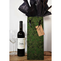 Reusable Wine gift bag, Green Damask