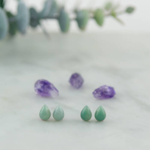 Semi-precious stone earrings, Amazonite Drop, hypoallergenic stainless steel