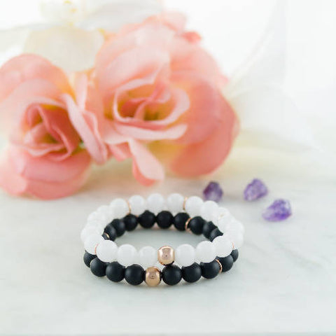 Zeus in a Tuxedo! Snow Quartz & Black Matte Onyx Bracelet