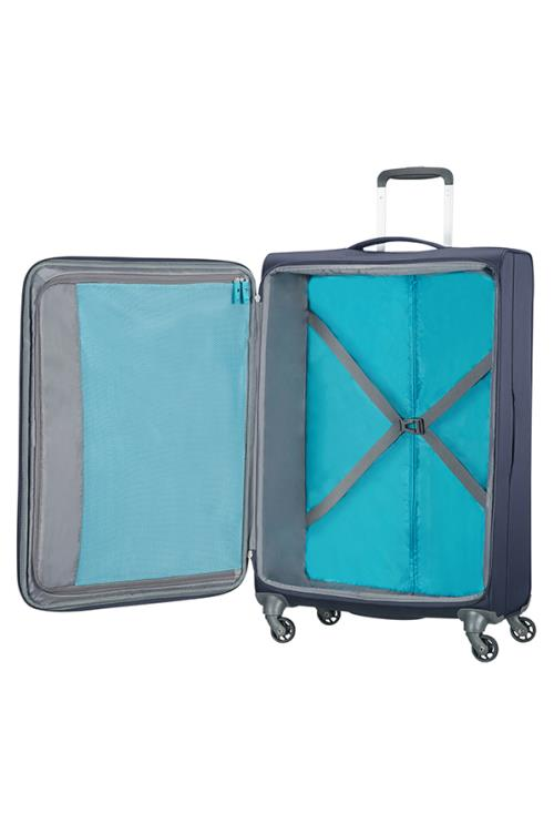 Valise 4 roues 67cm American Tourister Herolite marine ouverte