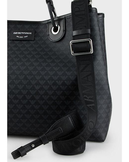 Sac Cabas Emporio Armani motif logo all over NOIR