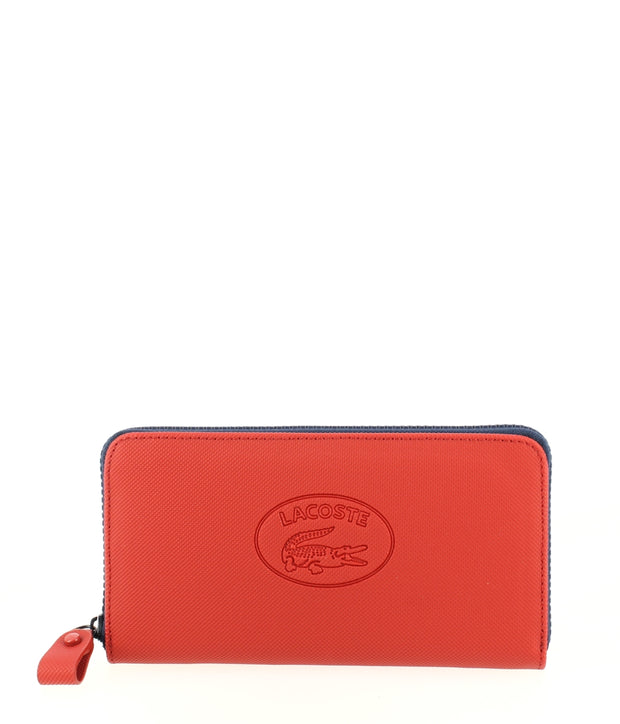 Grand portefeuille LACOSTE zippé Wallet rouge Bleu Marine face