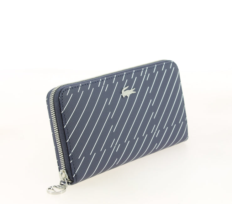 LACOSTE ZIP WALLET CHECK PEACOAT NF2401DT COTE