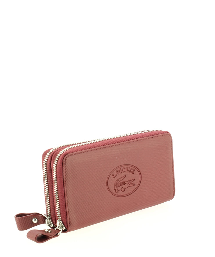 Porte-monnaie Lacoste Double Zip Wallet Rio Red coté