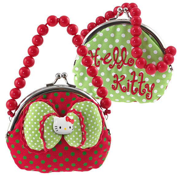 Portemonnaie Hello Kitty PURSE BAG RED GREEN DOTS