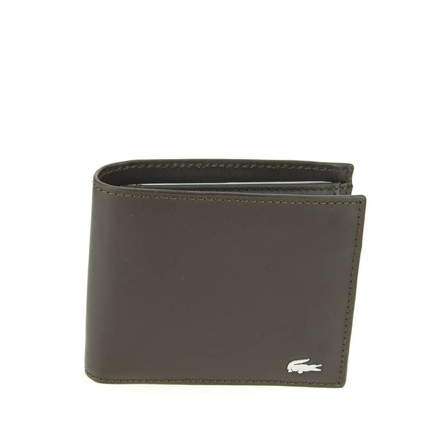 Portefeuille Lacoste homme en cuir marron LARGE BILLFORD & COIN NH1112FG 028 - face