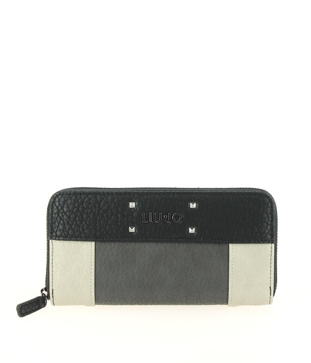 LIU JO Zip Around Grande M BLACK/ACCAIAIO/GREY FACE