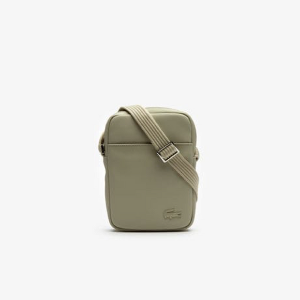 Sac bandoulière Lacoste vertical camera bag beige face